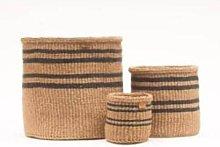 The Basket Room - Large Thin Stripe Charcoal Black