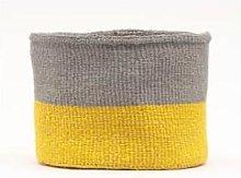 The Basket Room - Medium Yellow & Grey Woven Basket