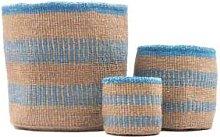 The Basket Room - Mzima Dusty Blue Stripe Woven