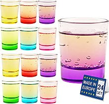 The Buybox - 24 Pieces Colored Shot Glasses Set,