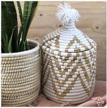 The Find Store - White Zig Zag Berber Bread Basket
