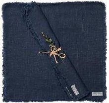 The Grey Works - Frayed Edge Linen Napkin Navy -