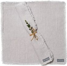 The Grey Works - Frayed Edge Linen Napkin Silver