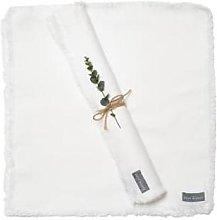 The Grey Works - Frayed Edge Linen Napkin White -