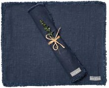 The Grey Works - Frayed Edge Linen Placemats Navy