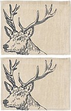 The Just Slate Company - Stag Linen Placemats -
