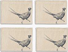 The Linen Table Pheasant Woven Linen Placemats,