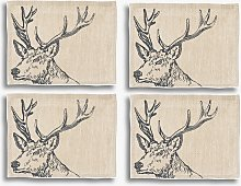 The Linen Table Stag Woven Linen Placemats, Set of