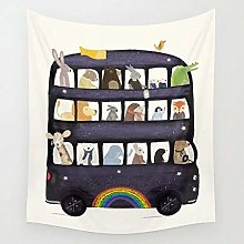 The Rainbow Bus Tapestry Cartoon Animal Wall