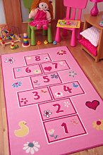 The Rug House Colourful Bright Pink Playtime Girls