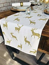 THE TABLECLOTH COMPANY CHRISTMAS CREAM & GOLD STAG