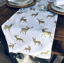 THE TABLECLOTH COMPANY CHRISTMAS WHITE & GOLD STAG