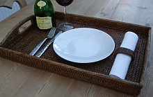 THE TABLECLOTH COMPANY LARGE RATTAN RECTANGLE TRAY