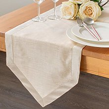 The White Petals Cream Kitchen Table Runners (Faux