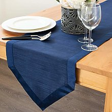The White Petals Navy Blue Kitchen Table Runners