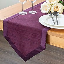 The White Petals Plum Kitchen Table Runners (Faux