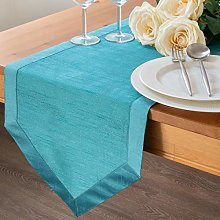 The White Petals Teal Dining Table Runners (Faux