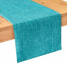 The White Petals Teal Side Table Runners (13x36
