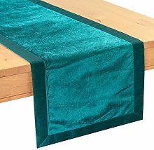 The White Petals Teal Side Table Runners (Faux