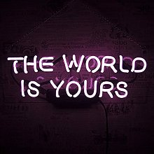 The World is Yours Neon Sign Wall Lights, Handmade
