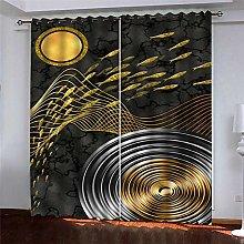 Thermal Blackout Curtain Black Fish 220 (W) x 215