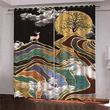 Thermal Blackout Curtain, Black, Ink Painting, 150