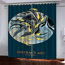 Thermal Blackout Curtain, Blue Fish 220 (W) x 215