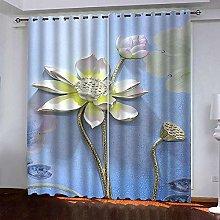 Thermal Blackout Curtain Blue Lotus 220 (W) x 215