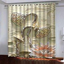 Thermal Blackout Curtain Gold Lotus 220 (W) x 215