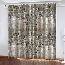 Thermal Blackout Curtain, Grey Letters 183 (W) x