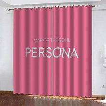 Thermal Blackout Curtain Pink Letters 220 (W) x