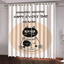Thermal Blackout Curtain, White Animal Horse, 220