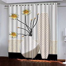 Thermal Blackout Curtain, White Flowers, 220 (W) x