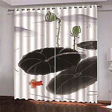 Thermal Blackout Curtain, White, Ink Painting, 234
