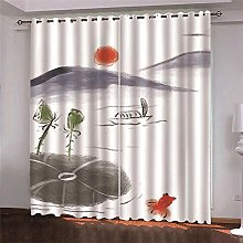 Thermal Blackout Curtain, White Landscape