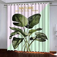 Thermal Blackout Curtain White Leaves 220 (W) x