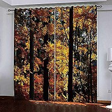 Thermal Eyelet Curtain-Yellow Maple Forest 3D