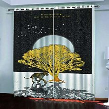 Thermal Insulated Blackout Curtain Animal Lion 150