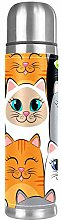 Thermos Cup Kids White Gray Cats Seamless Vacuum