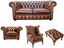 Theron Chesterfield 4 Piece Leather Sofa Set