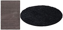 Thick Pile Soft Shaggy Area Rug: Silver Grey/120cm