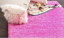 Thick Pile Soft Shaggy Rug: Pink/80cm x 150cm