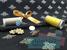 Thimbles Fabrics Gilded Golden Bumble Bees 100%
