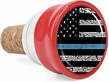 Thin Blue Line American Flag Wine Cork Wine Bottle
