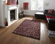 Think Rugs Pebbles Shaggy 100% Wool Indian Hand