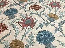 Thistles Soft Teal/Terracotta Floral Cotton 140cm