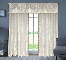 THL Floral Jacquard Design Fully Lined Curtain