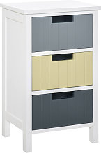 Three-Drawer Vintage Storage Cabinet Unit Bedroom Living Room Multi - Homcom