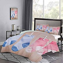 Three-Piece Bed Duvet Cover Baby Socks Attached to