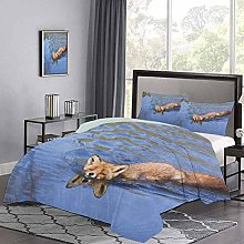 Three-Piece Bed Duvet Cover Cute Fox Swimming in